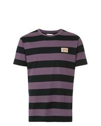 T-shirt à col rond à rayures horizontales violet