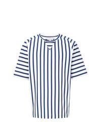 T-shirt à col rond à rayures verticales blanc et bleu marine