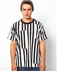 T-shirt à col rond à rayures verticales blanc et noir
