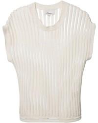 T-shirt à col rond à rayures verticales blanc
