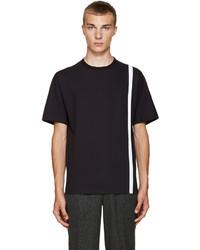 T-shirt à col rond à rayures verticales bleu marine