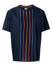 T-shirt à col rond à rayures verticales bleu marine Paul Smith
