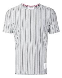 T-shirt à col rond à rayures verticales gris Thom Browne