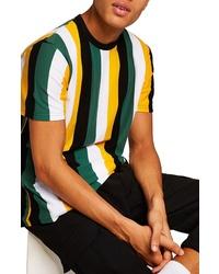 T-shirt à col rond à rayures verticales multicolore