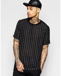 T-shirt à col rond à rayures verticales noir