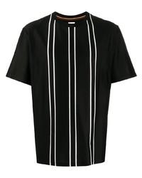 T-shirt à col rond à rayures verticales noir Paul Smith