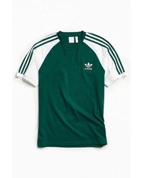 T-shirt à col rond à rayures verticales vert foncé