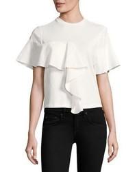 T-shirt à col rond à volants blanc