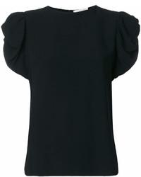 T-shirt à col rond à volants noir