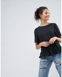 T-shirt à col rond à volants noir Asos