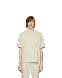 T-shirt à col rond beige Deveaux New York