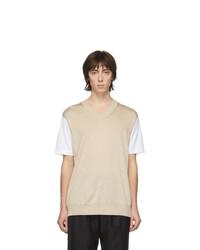 T-shirt à col rond beige Junya Watanabe