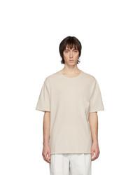T-shirt à col rond beige Lemaire