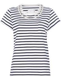 T-shirt à col rond blanc et bleu marine