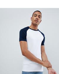 T-shirt à col rond blanc et bleu marine ASOS DESIGN