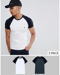 T-shirt à col rond blanc et bleu marine French Connection