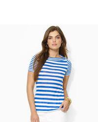 T-shirt à col rond blanc et bleu