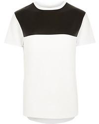 T-shirt à col rond blanc et noir