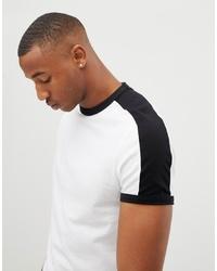 T-shirt à col rond blanc et noir ASOS DESIGN