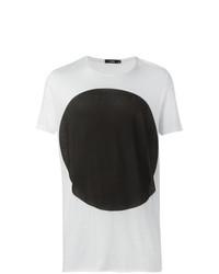 T-shirt à col rond blanc et noir Bassike
