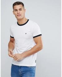 T-shirt à col rond blanc et noir French Connection