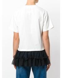 T-shirt à col rond blanc et noir MM6 MAISON MARGIELA