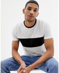 T-shirt à col rond blanc et noir New Look