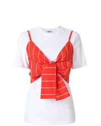 T-shirt à col rond blanc et rouge MSGM