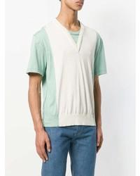 T-shirt à col rond blanc et vert Maison Margiela