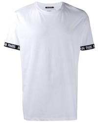 T-shirt à col rond blanc Balmain
