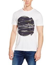 T-shirt à col rond blanc Calvin Klein Jeans