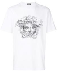 T-shirt à col rond blanc Versace