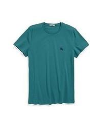 T-shirt à col rond bleu canard