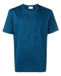 T-shirt à col rond bleu canard Salvatore Ferragamo