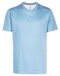 T-shirt à col rond bleu clair Brunello Cucinelli