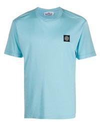 T-shirt à col rond bleu clair Stone Island