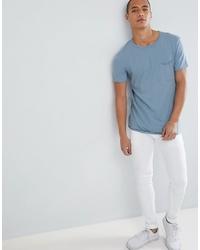 T-shirt à col rond bleu clair Tom Tailor