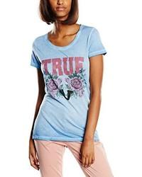 T-shirt à col rond bleu clair True Religion