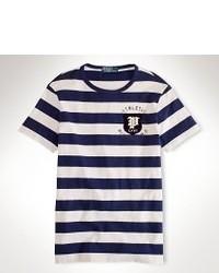 T-shirt à col rond bleu marine et blanc