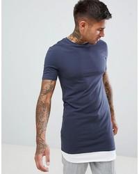 T-shirt à col rond bleu marine et blanc ASOS DESIGN