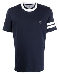 T-shirt à col rond bleu marine et blanc Brunello Cucinelli