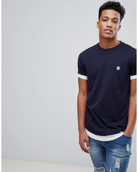 T-shirt à col rond bleu marine et blanc Le Breve
