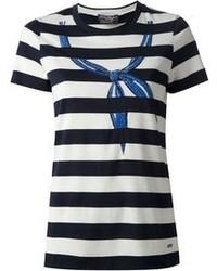 T-shirt à col rond bleu marine et blanc Salvatore Ferragamo