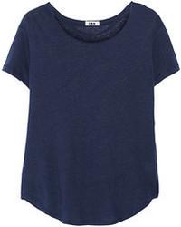 T-shirt à col rond bleu marine