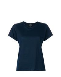 T-shirt à col rond bleu marine A.P.C.
