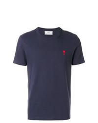 T-shirt à col rond bleu marine AMI Alexandre Mattiussi