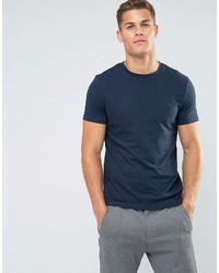 T-shirt à col rond bleu marine Asos