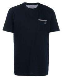 T-shirt à col rond bleu marine Brunello Cucinelli