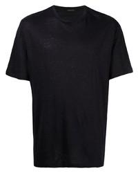 T-shirt à col rond bleu marine Ermenegildo Zegna