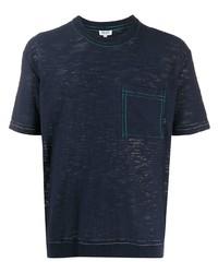 T-shirt à col rond bleu marine Kenzo